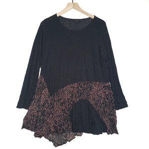 Comfy USA Crinkle Multi Fabric Tunic Top Black S